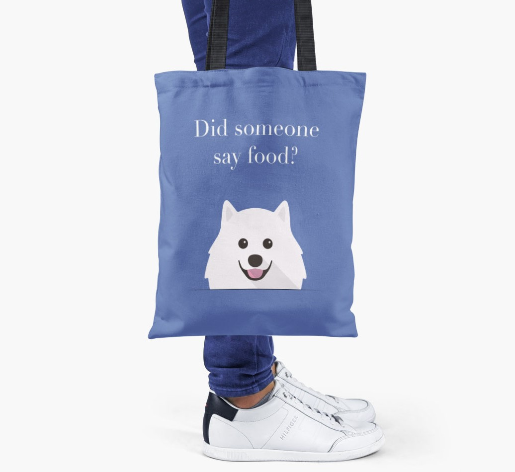 Pomeranian {colour} Did Someone Say Food? Shopper Bag held by woman