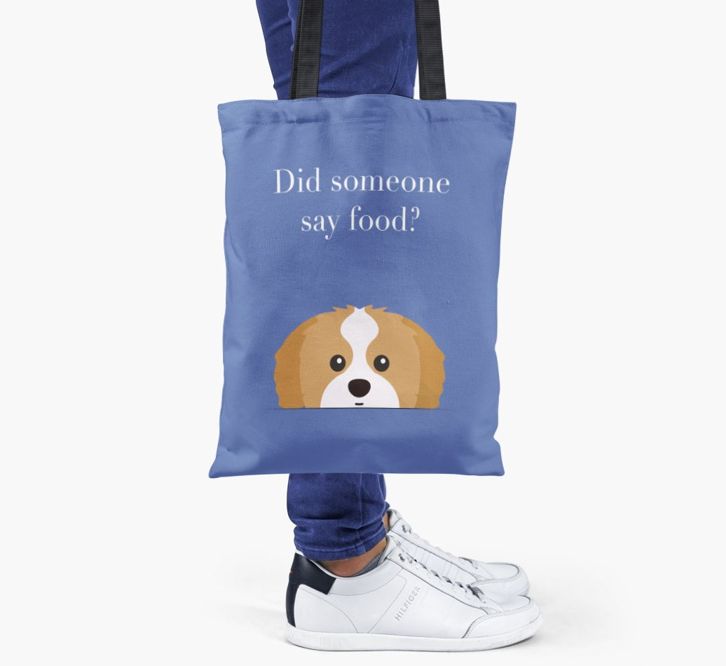 Shih Tzu {colour} Did Someone Say Food? Shopper Bag held by woman