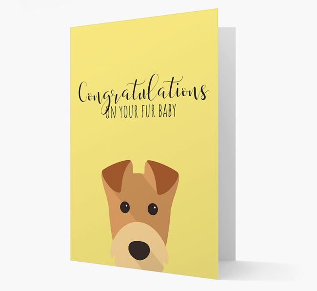 'Congrats on your Fur Baby' Card with Airedale Icon