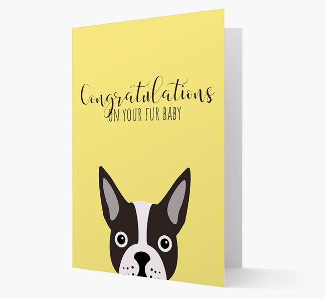 'Congrats on your Fur Baby' Card with Boston Terrier Icon