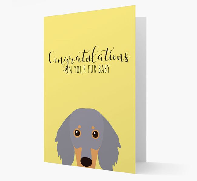 'Congrats on your Fur Baby' Card with Dachshund Icon