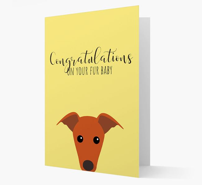 'Congrats on your Fur Baby' Card with Greyhound Icon
