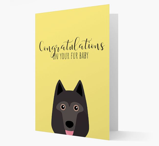 'Congrats on your Fur Baby' Card with Schipperke Icon