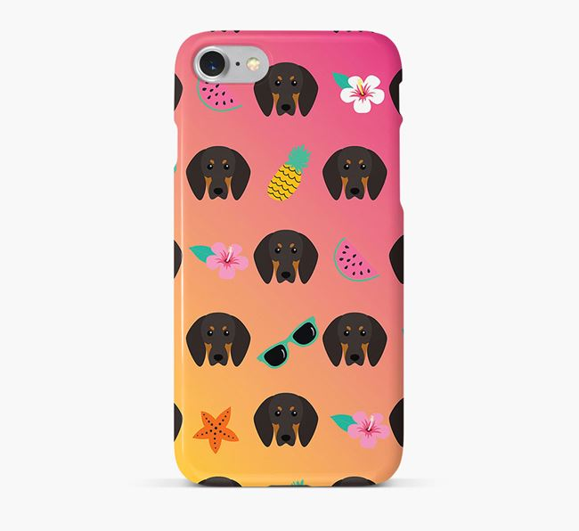 Tropical Black and Tan Coonhound Phone Case