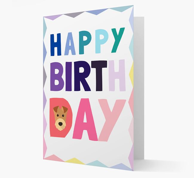 Colourful Airedale Terrier 'Happy Birthday' Card