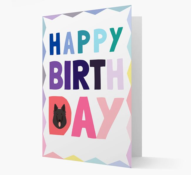 Colourful Belgian Shepherd 'Happy Birthday' Card