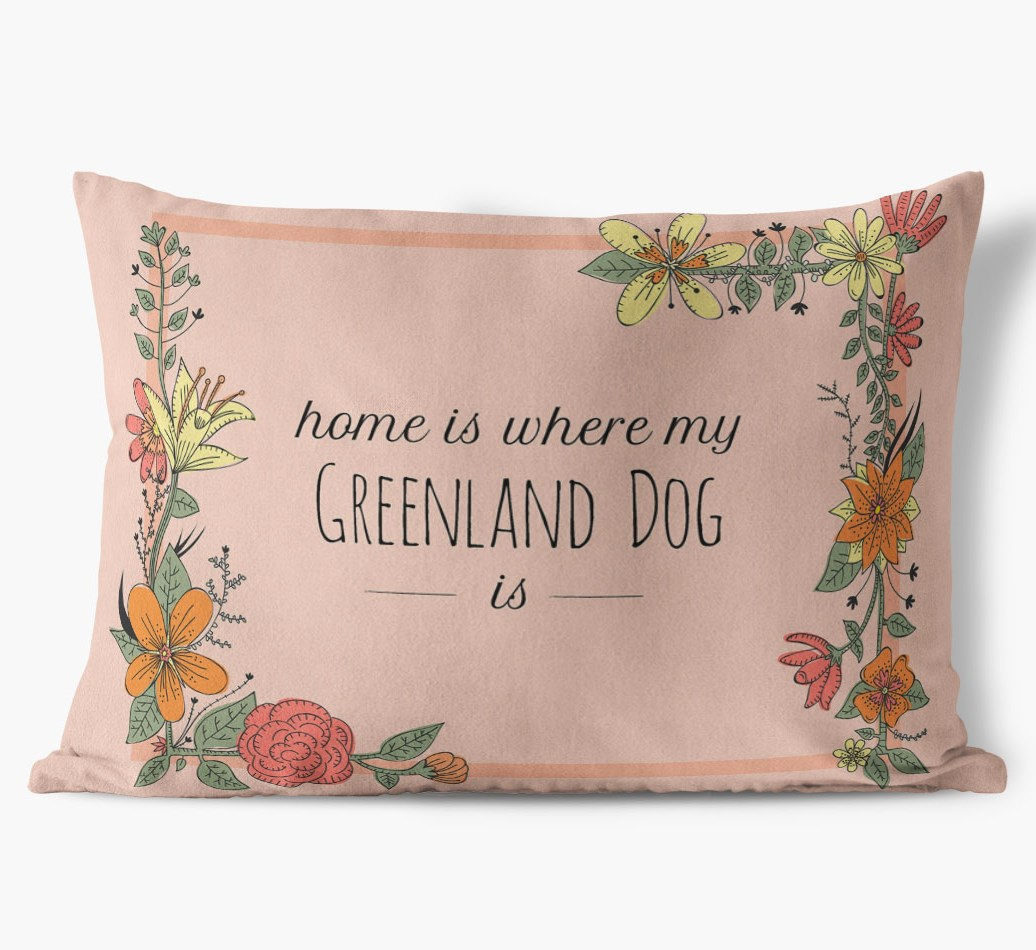 Greenland Dog Definition Faux Suede pillow in {colour} front view