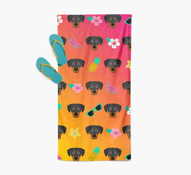 Blue Lacy Tropical Pattern Pool Towel