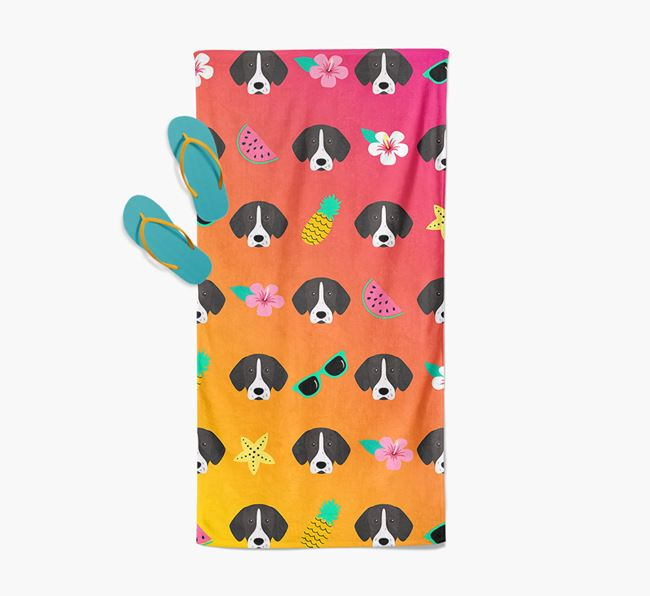 German Shorthaired Pointer Tropical Pattern Pool Towel