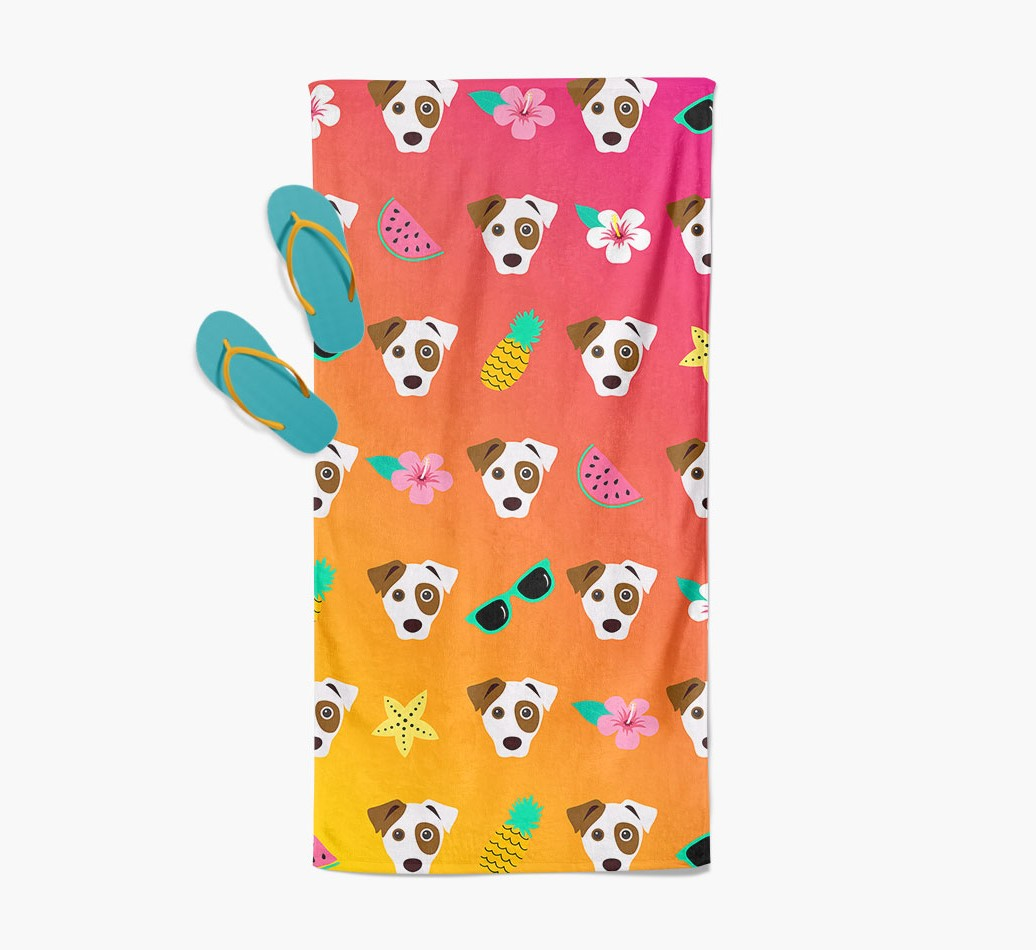 Dog Tropical Pattern Beach Towel with slippers