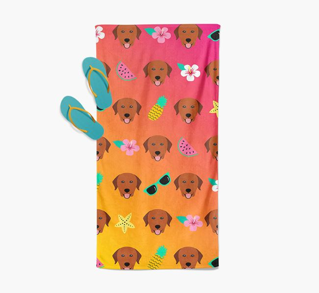 Labrador Retriever Tropical Pattern Pool Towel