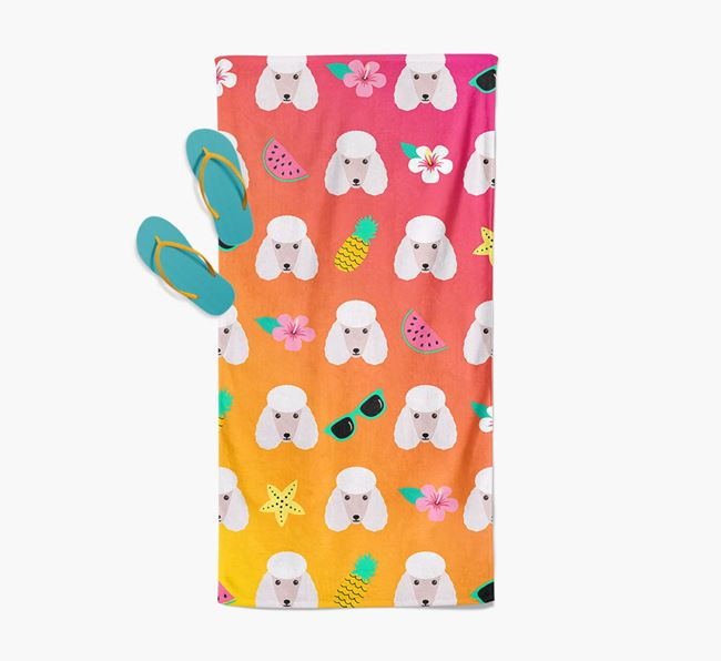 Poodle Tropical Pattern Pool Towel