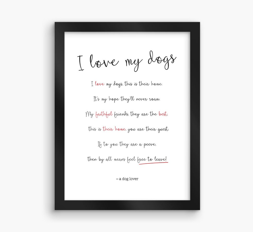 'I love my dogs' Cocker Spaniel Framed Print - Black Frame