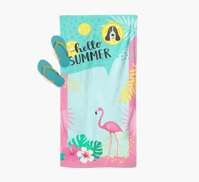 'Hello Summer' Pool Towel with Cocker Spaniel Icon