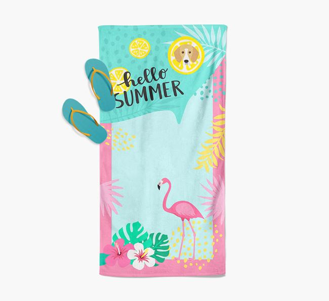 'Hello Summer' Pool Towel with Bassador Icon