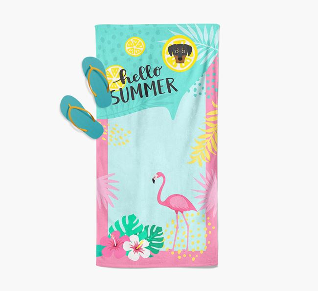 'Hello Summer' Pool Towel with Blue Lacy Icon