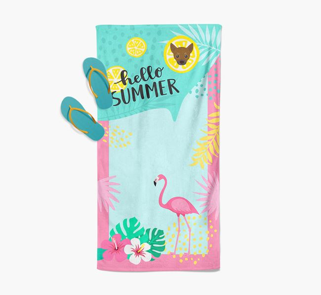 'Hello Summer' Pool Towel with Chihuahua Icon