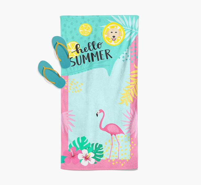 'Hello Summer' Pool Towel with Golden Retriever Icon