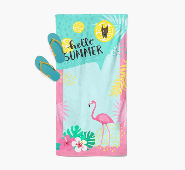 'Hello Summer' Pool Towel with Great Dane Icon