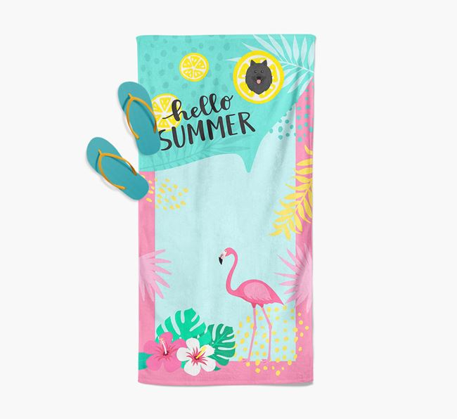 'Hello Summer' Pool Towel with Keeshond Icon