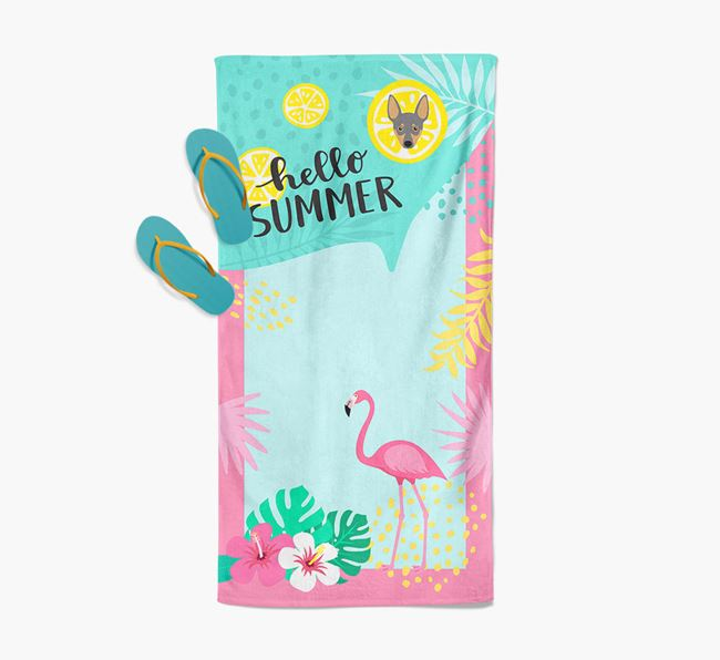 'Hello Summer' Pool Towel with Miniature Pinscher Icon