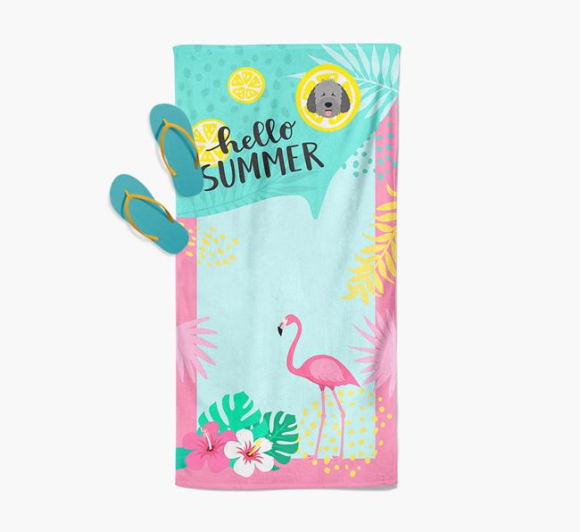 'Hello Summer' Pool Towel with Spanish Water Dog Icon
