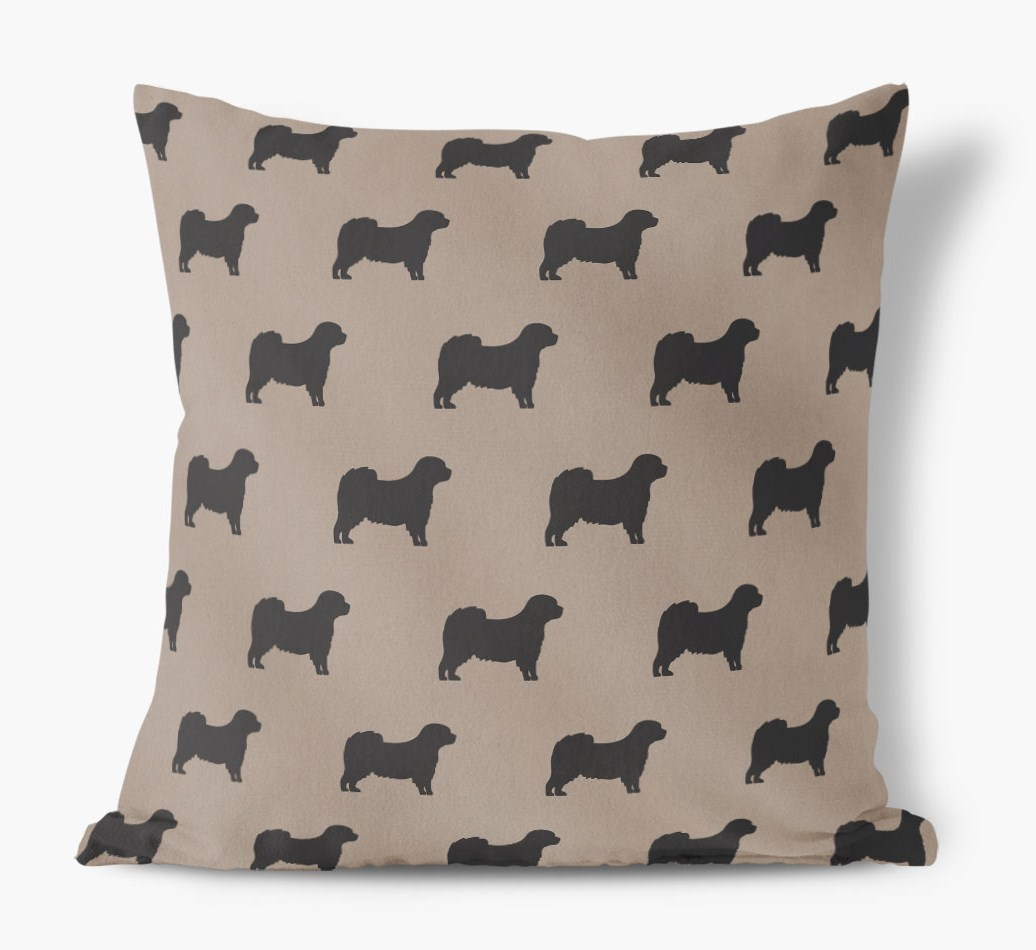 Front view of {colour} Cavapom Silhouette Faux Suede pillow