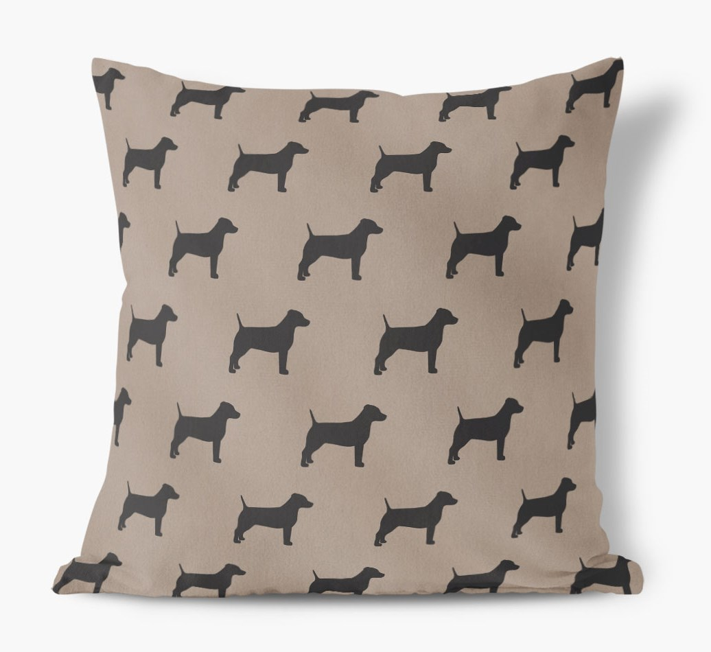 Front view of {colour} Dog Silhouette Faux Suede pillow