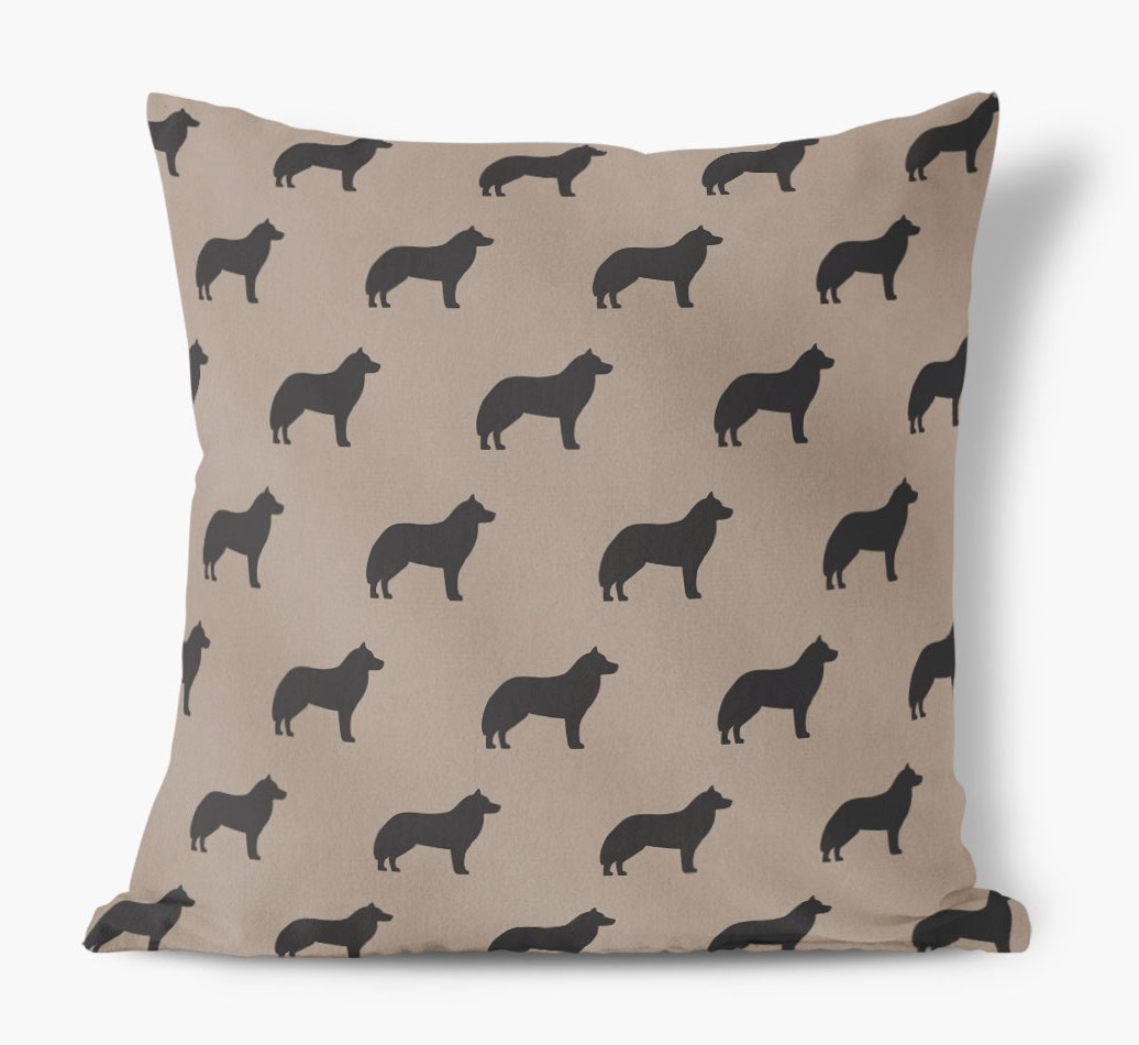 Front view of {colour} Siberian Husky Silhouette Faux Suede pillow