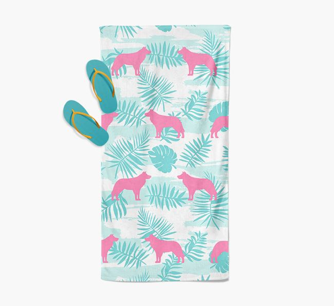 Palm Print with Border Collie Silhouette Pool Towel