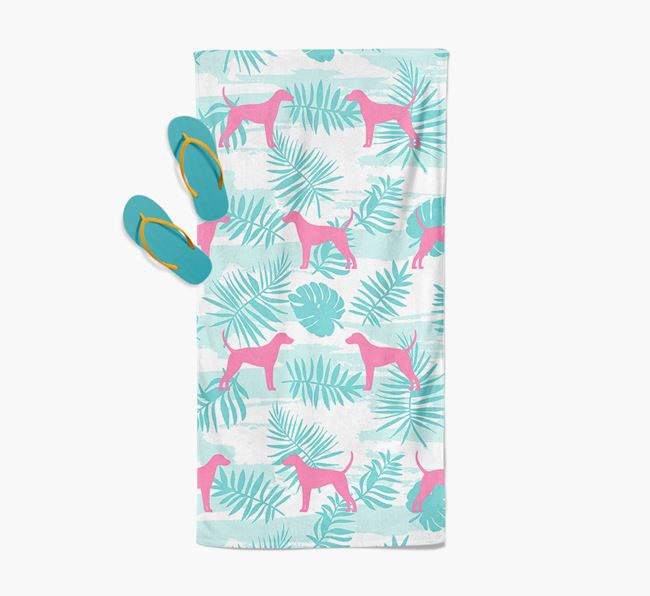 Palm Print with Foxhound Silhouette Pool Towel