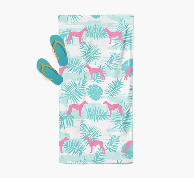 Palm Print with Greyhound Silhouette Pool Towel