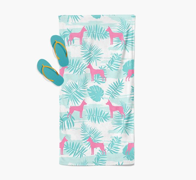 Palm Print with Miniature Pinscher Silhouette Pool Towel
