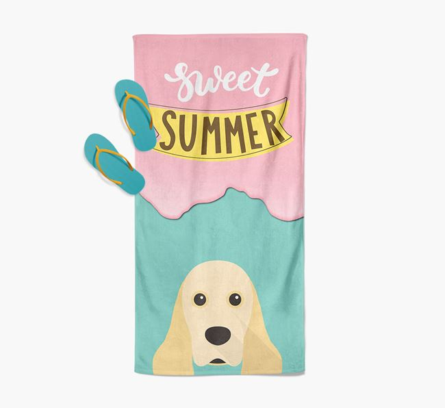 Sweet Summer with American Cocker Spaniel Icon Pool Towel