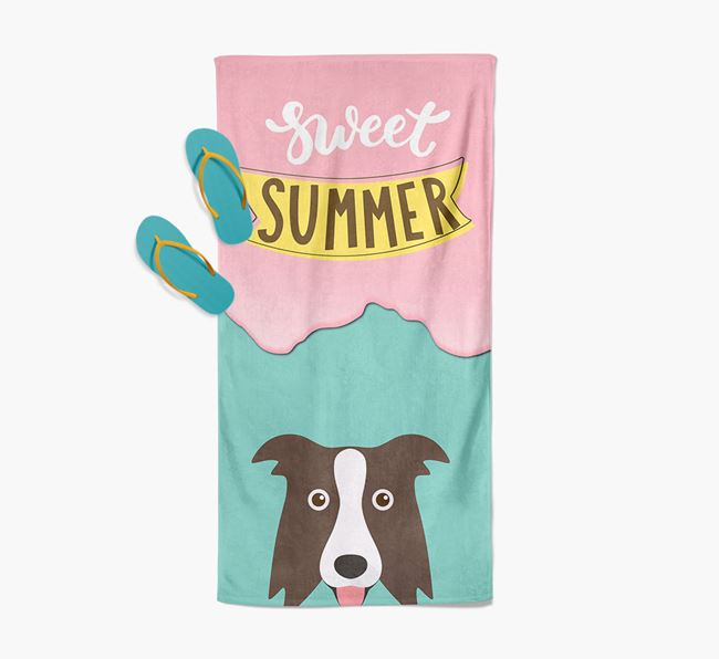 Sweet Summer with Border Collie Icon Pool Towel