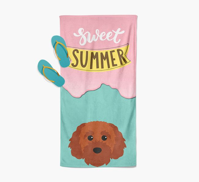 Sweet Summer with Cavapoochon Icon Pool Towel