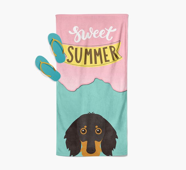 Sweet Summer with Dachshund Icon Pool Towel