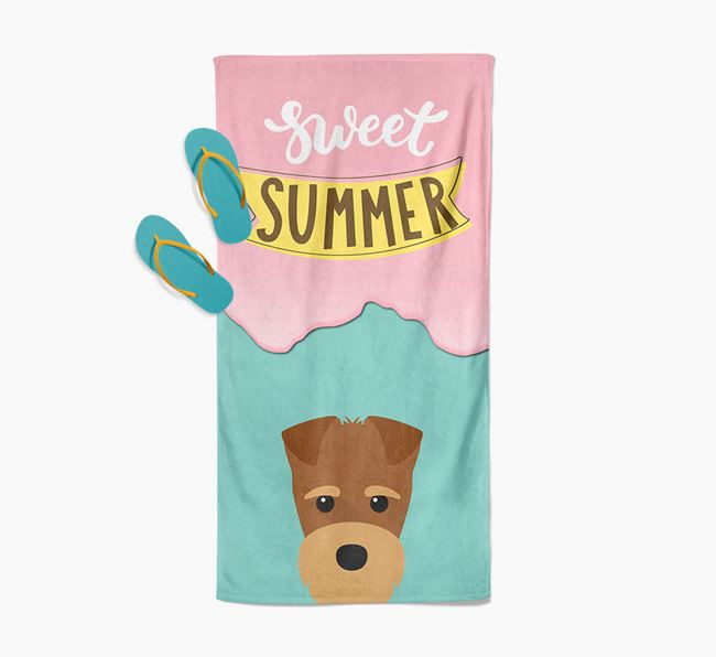 Sweet Summer with Fox Terrier Icon Pool Towel