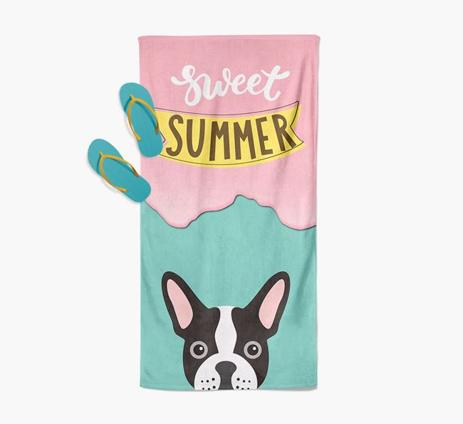 Sweet Summer with French Bulldog Icon Pool Towel
