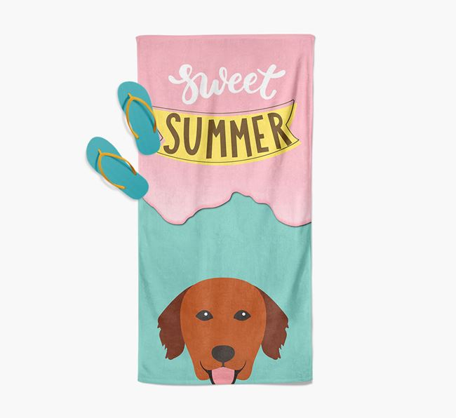 Sweet Summer with Golden Retriever Icon Pool Towel