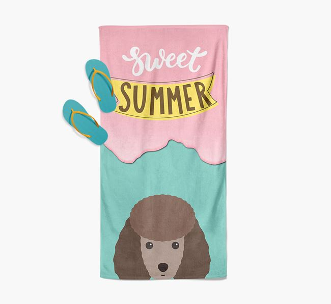 Sweet Summer with Miniature Poodle Icon Pool Towel