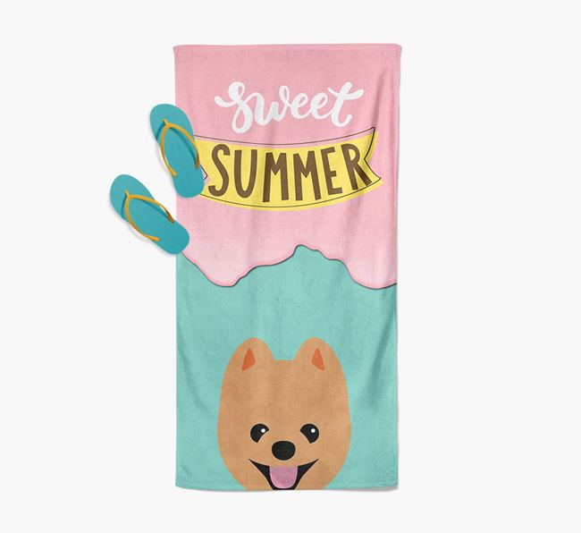 Sweet Summer with Pomeranian Icon Pool Towel