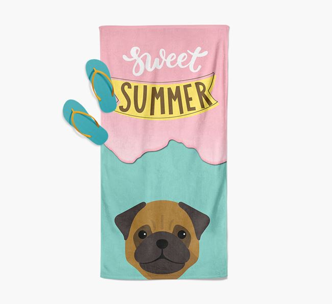 Sweet Summer with Pug Icon Pool Towel
