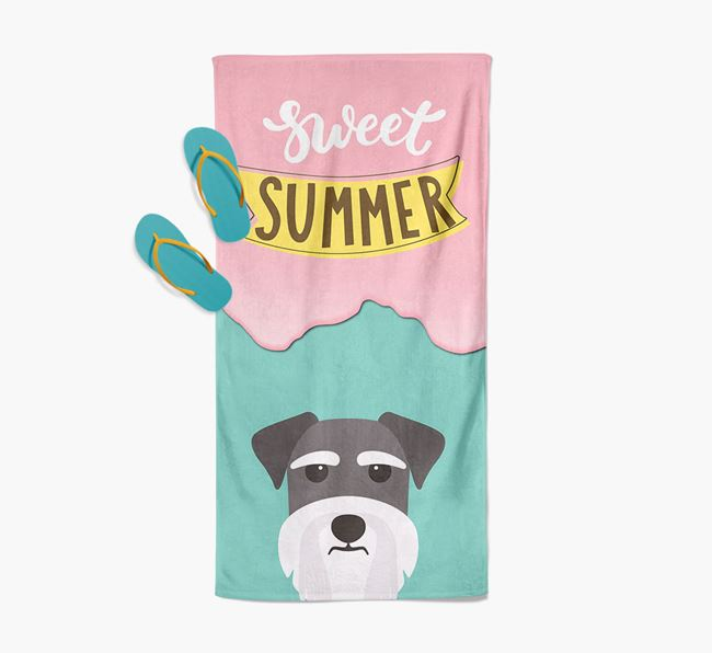Sweet Summer with Schnauzer Icon Pool Towel
