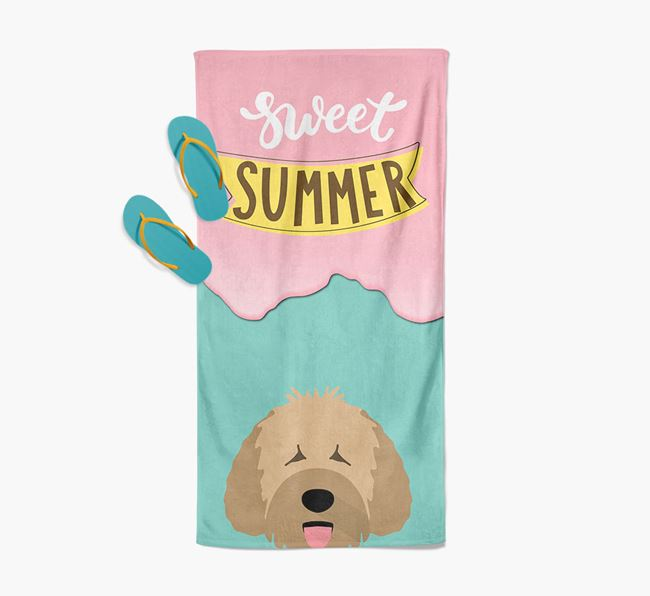 Sweet Summer with Spanish Water Dog Icon Pool Towel