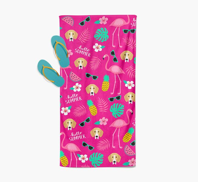 Summer Flamingo and Bassador Icon Pattern Pool Towel
