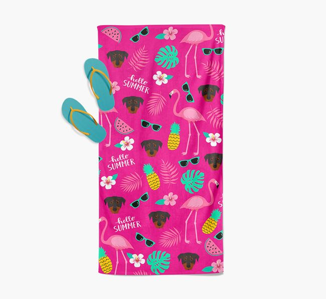 Summer Flamingo and Beauceron Icon Pattern Pool Towel