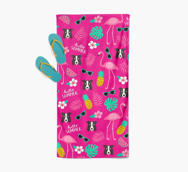 Summer Flamingo and Border Collie Icon Pattern Pool Towel