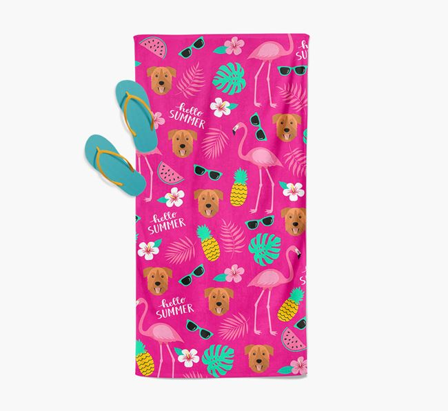 Summer Flamingo and Chinook Icon Pattern Pool Towel