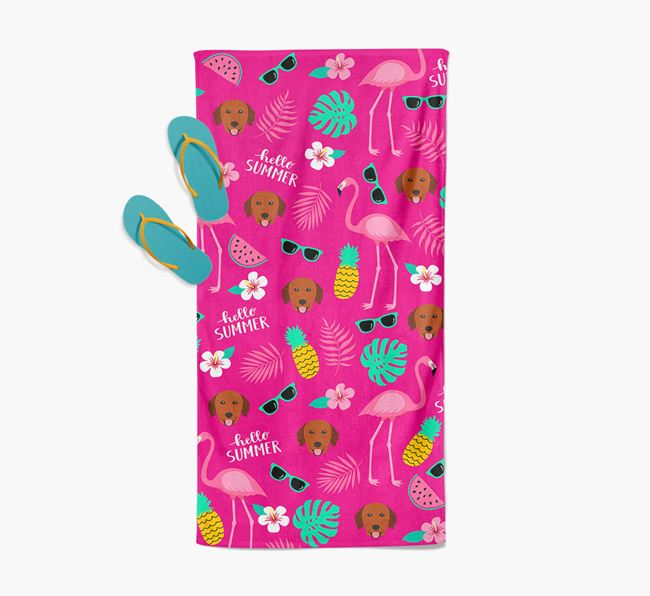 Summer Flamingo and Golden Retriever Icon Pattern Pool Towel